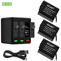 Mibote Battery Pack of 3 1220 mAh Replacement Batteries with 3-Slot Charger, Hero 5 Black, Hero 6 Black, Hero 7 Black, Hero 2018 (Compatible with Hero 5 Firmware v01.55, v01.57 and v02.00, v02.51, v02.60)