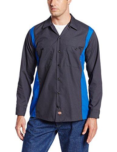 Dickies Occupational Workwear Ll524chrb Polyester/Coton pour homme Manches longues industriel Bloc de couleur Chemise, Charbon de bois foncé/bleu roi,