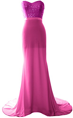 MACloth Gorgeous Mermaid Bridesmaid Dress Strapless Jersey Sequin Long Prom Gown Fuchsia