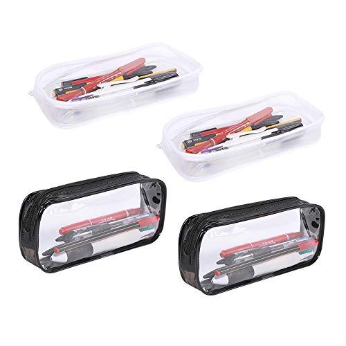 MLJ- Estuche transparente para lápices, 4 piezas, bolsa de almacenamiento de gran capacidad, color negro y blanco, bolsa de maquillaje con cremallera