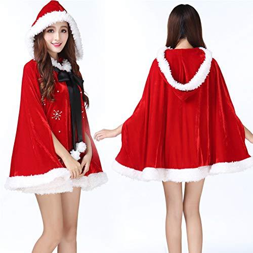 GSDZN - Erwachsene Frauen Fräulein Sankt-Kostüm, Weihnachtskostüm + Schwarze Krawatte, Weihnachten, Büste 58 Zoll, Länge Rock 28 Zoll, Eine Größe