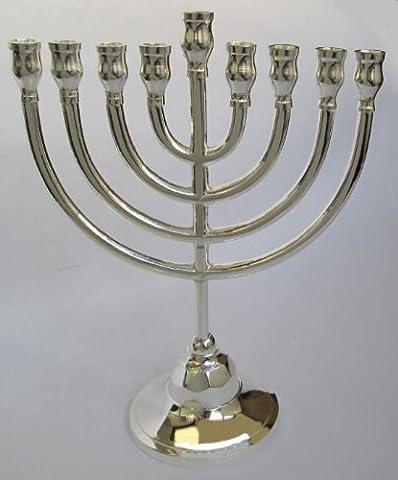 Chanukka-Leuchter - Chanukkia für Chanukkah, versilbert, traditionelles Design, aus Israel (Hanukkah Menora)
