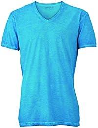 JAMES & NICHOLSON - t-shirt style bohémien - impression spray - col V - manches courtes - JN976 - homme