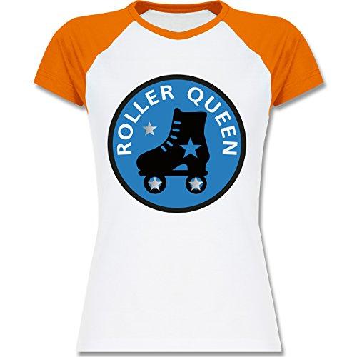 Shirtracer Vintage - Roller Queen Rollschuh - Zweifarbiges Baseballshirt/Raglan T-Shirt für Damen Weiß/Orange