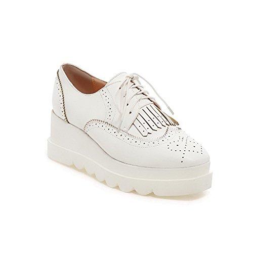 AgooLar Damen Mittler Absatz Fransig Schnüren Quadratisch Zehe Pumps Schuhe Weiß