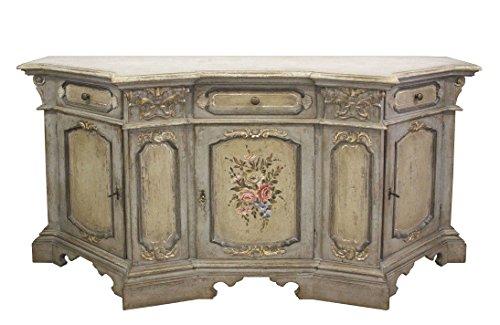 Newsbenessere.com 41VtShaXqQL Credenza antiquariato in legno di Tiglio con decori floreali dipinti a mano, mobile di artigianato veneto