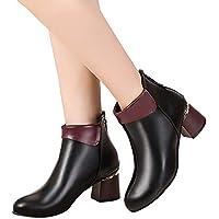 Geili Damen Stiefeletten High Heels mit Blockabsatz Chelsea Boots Frauen Modische Übergrößen Kurzschaft Lederstiefel... preisvergleich bei billige-tabletten.eu