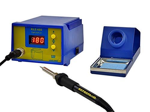 Komerci KLS460 Regelbare digitale Lötstation 60W mit 24V Niedervolt Lötkolben und ESD, Blau
