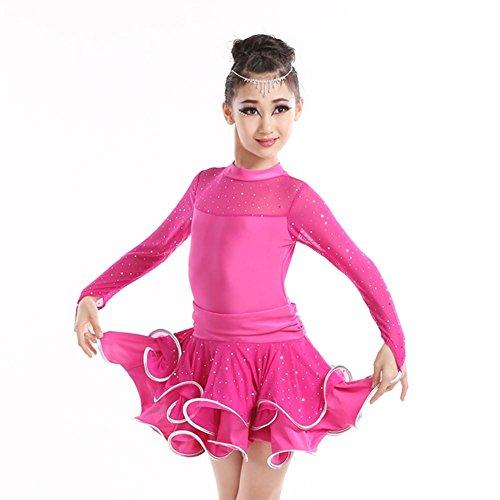 Kostüme Kinder Schlanke (GBDSD Tanzaufführungen Kinder Tanz Kleidung Herbst Röcke schlanke Mädchen Latein-Wettbewerb für Kinder Kleidung , rose red ,)