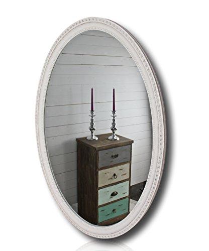elbmöbel Wandspiegel groß Oval in weiß Antik mit Patina 70 x 100cm mit Holz-Rahmen im...