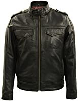 Mens Black Military Bomber Leather Jacket