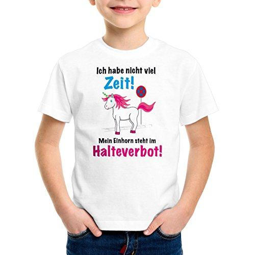 style3 Keine Zeit Einhorn im Halteverbot Kinder T-Shirt Mein Unicorn steht Parken Spruch