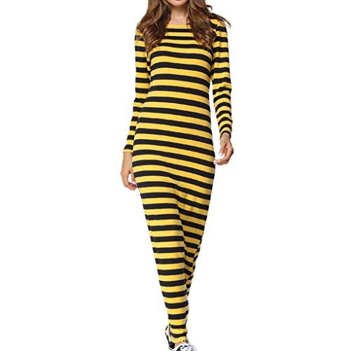 Btruely Kleid Damen Langarm Rundhals Maxikleid Clubkleidung Kleid Slim Fit Frau Gestreift Partykleid Ballkleid Abendkleid (M, Gelb) (Gestreiften Und Schwarz Gelb T-shirt)