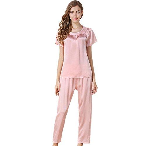 DMMSS Damen Seidenpyjamas Zwei Sätze Edler Und Bequemer Maulbeerhausbekleidung 2 - Teilige Sets , M Code , Pink