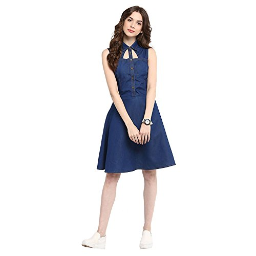Feeldiff Blue Denim Casual western Dresses