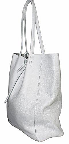 Ital Echt Leder Ledertasche Damentasche Handtasche Shopper Schultertasche (hellgrau) weiss