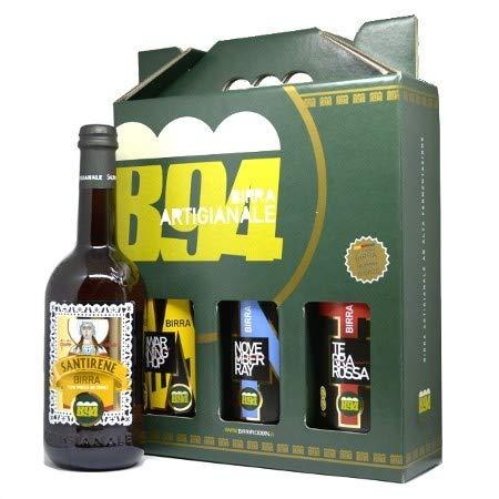 Idea regalo confezione 3 birre artigianali salentine da 33cl birrificio b94 terrarossa - november ray - warning hop
