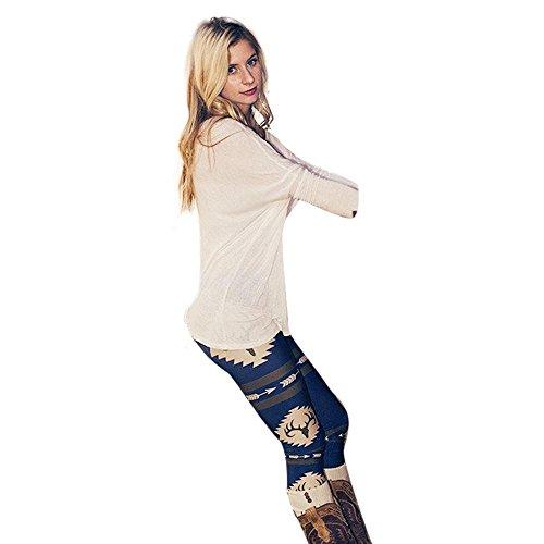 Covermason Fashion femmes maigre imprimé extensible pantalon Leggings Bleu