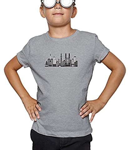 Billion Group | Illustration Of Tokyo | City Collection | Boys Classic Crew Neck T-Shirt Gris X-Large