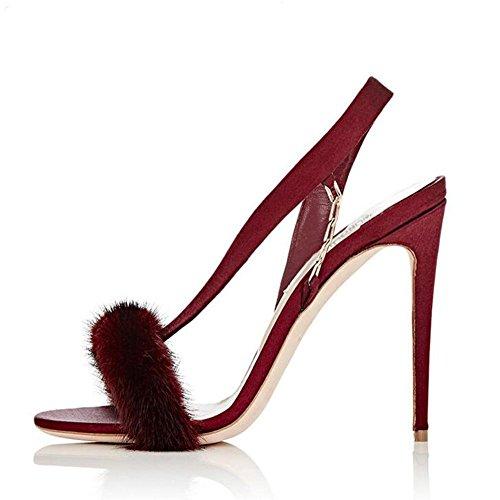 L@YC Frauen Bankett Super High-Heeled Tanz PlüSch Komfort Plattform GroßE GrößE Sandalen Red