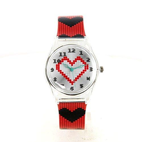 Montre Femme Pixel Coeur Bracelet Plastique Noir et Rouge My-Montre