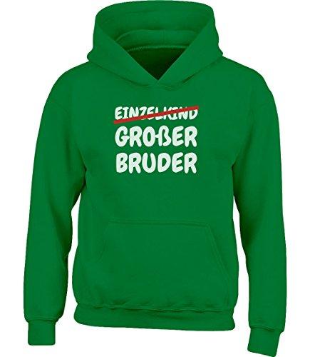 Geschenk Großer Bruder statt Einzelkind Kinder Kleinkind Hoodie Kapuzenpullover 3-4 Jahre (99-104) Grün