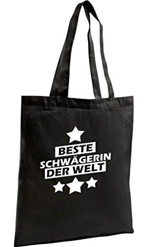 Shirtstown Shopping Bag Organic Zen, Shopper beste Schwägerin der Welt, Farbe schwarz (Zen-damen-tasche)