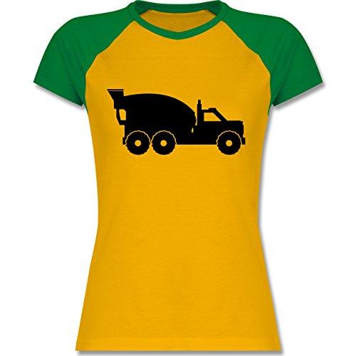 Andere Fahrzeuge - Betonmischer - zweifarbiges Baseballshirt / Raglan T-Shirt für Damen Gelb/Grün
