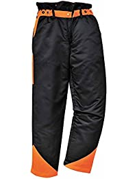 PORTWEST CH11 Mens Forestry Oak Trousers Black/Orange CH11BK-RXXL