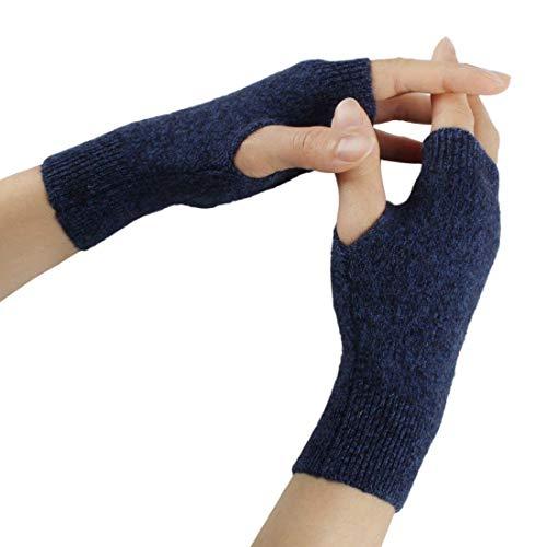 SED Handschuhe - Outdoor Sports Glove, Cashmere Damen Warm Fingerless Knit Einfache Halbhandschuhe Stil Warm Solid Colors Glove Fingerless Driving Rutschfeste Weiche Handschuhe,Dunkelblau,Einheitsgrö (Cashmere Knit Glove)