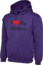I Love Heart My Maltese Dog Purple Hoody Hooded Sweatshirt With Black Text & Red Heart