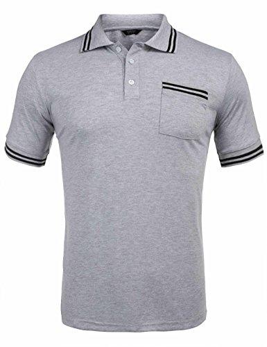 Burlady Polo Shirts Herren, Sommer Herren Mode Persönlichkeit Männer Casual Schlank Kurzarm Patchwork T-Shirt Top Bluse- Gr. L, Grau