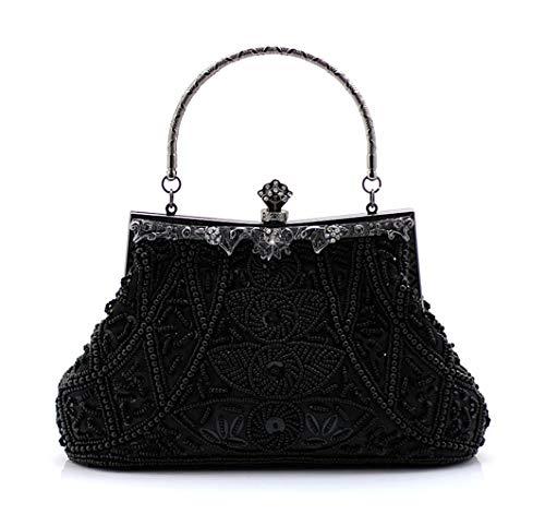 Guozi Damen Retro Clutch Handgemachte Perlen Kupplung Elegante Pailletten Handtasche Stickerei Diagonalpaket Abendtasche Tasche für Hochzeit Tanzparty Party (Schwarz) -