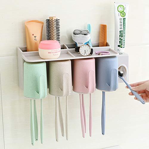 PajCzh Zahnputzbecherhalter Zahnbürstenhalter Doppelt Kreative Europäischen Anzug Wand Kamm Tasse Mundstück Regal Eine Familie Von DREI Vier Mund Waschen, A, 6 (Mund Rahmen Waschen)