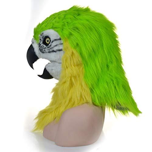 Pferd Realistisch Kostüm - LZY Masken Erwachsenen Halloween Kostüm Realistische Handarbeit Maßgeschneiderte Cosplay Beweglichen Mund Maske Roter Papagei Pelzigen Simulation Tier Maske,Grün