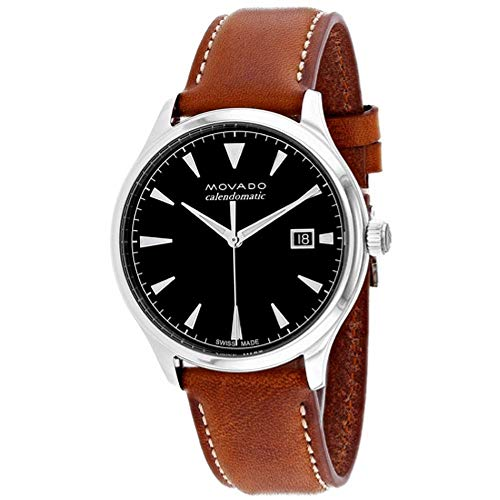 Movado Men's Heritage 40mm Brown Leather Band Steel Case Automatic Black Dial Analog Watch 3650055