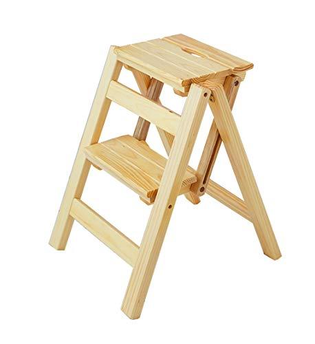 Trittleiter Klappstufen Faltender Fester hölzerner Jobstepp-Leiter-Schemel-Stuhl Multifunktionaler Stepladder-Einstiegs-Treppenhaus-Treppenhaus-Stuhl 300 lbs-Kapazität Schritt Hocker