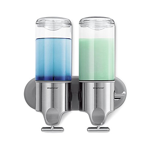 simplehuman Wall Mount Pumps, Stainless Steel, 444 ml - Twin