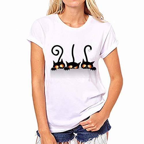 DAIDAINDX Women Blouse Cotton Tees Fashion Pocket Rabbit Printing White Top Shirt Short