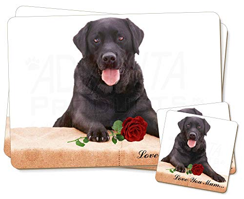 Advanta - Coaster and Placemat Set Black Lab with Rose 'Love You Mum' Doppel-Tischsets + 2 Untersetzer, in Geschenkbox - Lab Coaster Set