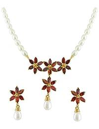 Sri Jagdamba Pearls Pearl Pendant for Women -White, Gold & Silver