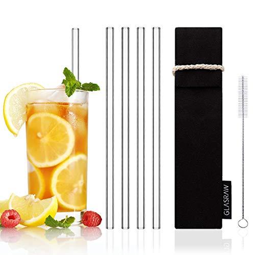 GLASRAW - Glas Strohhalme [23 cm] ♻ Wiederverwendbare Trinkhalme aus Glas inkl. Tasche aus Baumwolle & Bürste   Cocktail/Smoothie: nachhaltig, gesund + plastikfrei (4er Set)