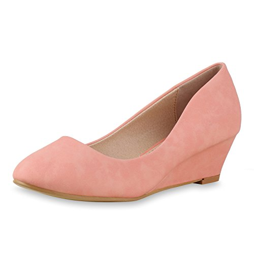 Damen Keilpumps Wedges Party Pumps Abendschuhe Glitzer Brautschuhe Damen Pumps Peach 39 Jennika