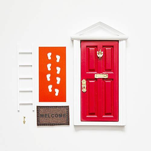 Ratoncito Pérez: Puerta Mágica Roja + Pequeña Llave + Postal de Felicitación + Dibujo para colorear + pequeño felpudo + plantilla para las huellas + pequeña escalera