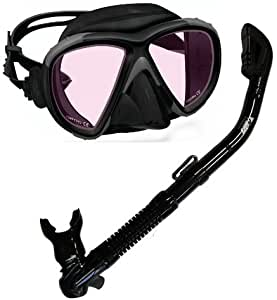 Snorkeling Scuba Diving Color Correction Mask with Dry Snorkel Set, Yellow Lens