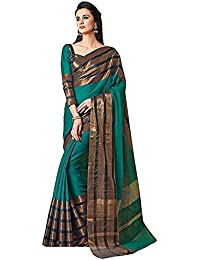 Dharmi Enterprise Green And Gold Cotton Silk With Blouse Piece Women's Saree (saree Under 200, Saree Under 300...