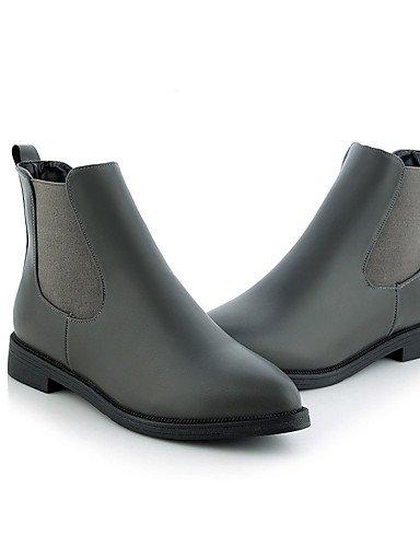 ShangYi Mode damenschuhe stiefel die Herbst/Winter Mode Stiefel / Schuhe Pigskin Outdoor / Büro & Karriere flachem Absatz Slip-on Walking Grau