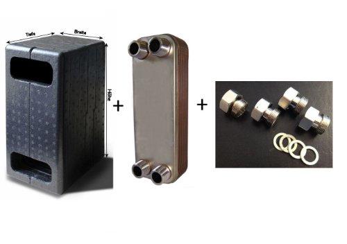 Wärmetauscher Plattenwärmetauscher gelötet WK30-30 inkl. Isolierung + reduktionsloses Verschraubungsset
