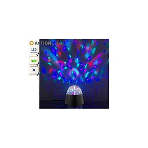Action by Wofi 879101106000A, Disco Lampe de table, plastique, 3W, intégré, noir, 9x 9x 9cm