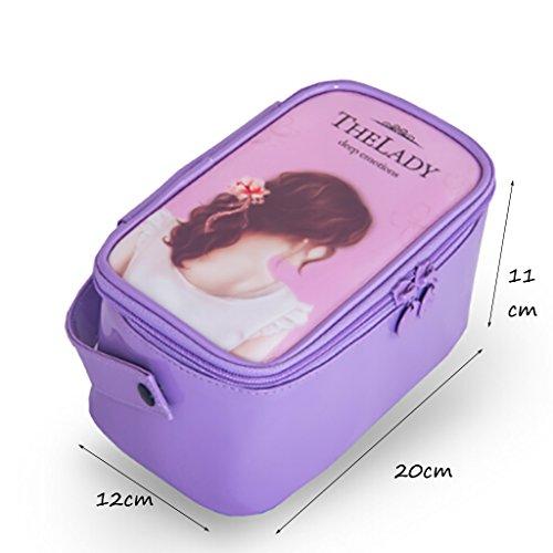 CLOTHES- Sacchetto cosmetico della borsa di lavaggio della borsa di lavaggio della casa di viaggio sacchetto della borsa della borsa del fumetto portatile impermeabile della Corea ( Colore : Vino ross Viola